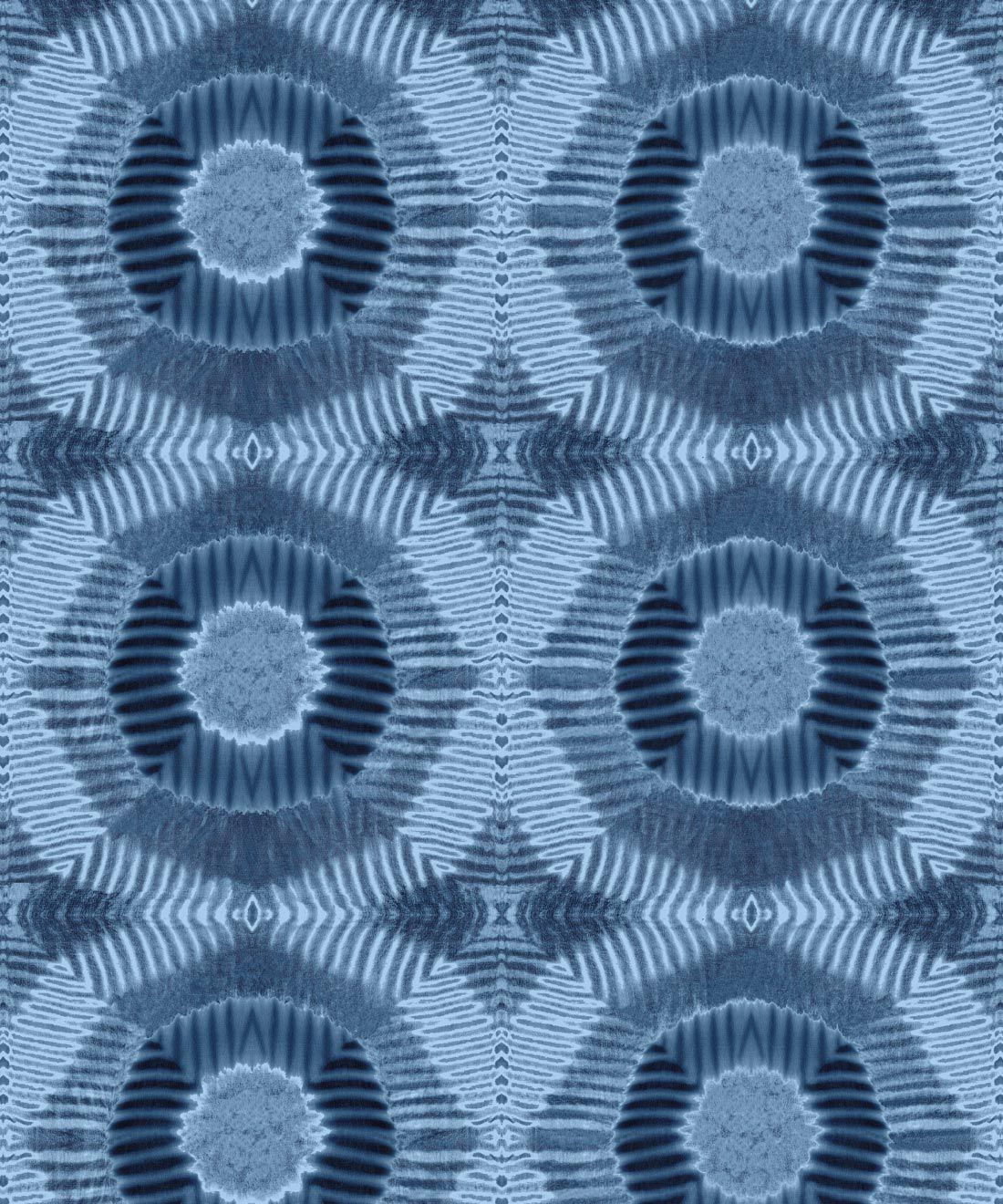 Aztec Suns Wallpaper Indigo Blue • Shibori Geometric • Swatch