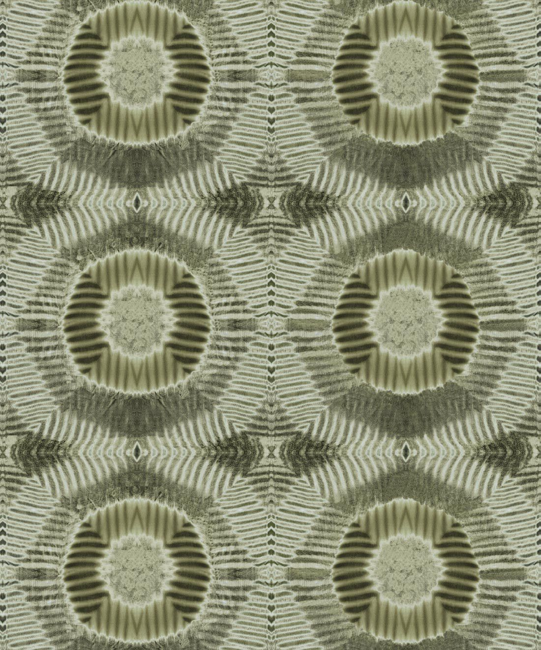 Aztec Suns Wallpaper Olive • Shibori Geometric • Swatch