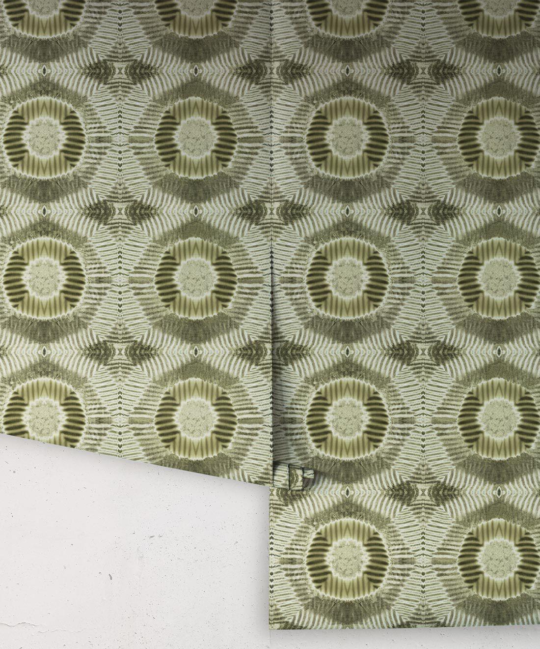 Aztec Suns Wallpaper Olive • Shibori Geometric • Rolls
