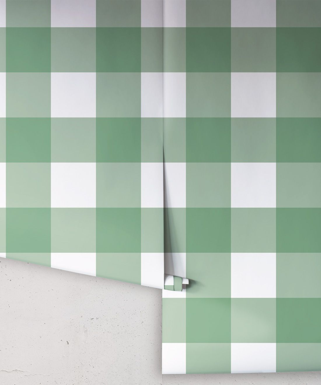 Mel's Buffalo Check Wallpaper • Green Plaid Wallpaper Rolls