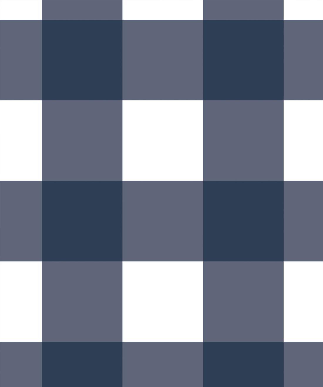 Mel's Buffalo Check Wallpaper • Navy Blue Plaid Wallpaper Swatch