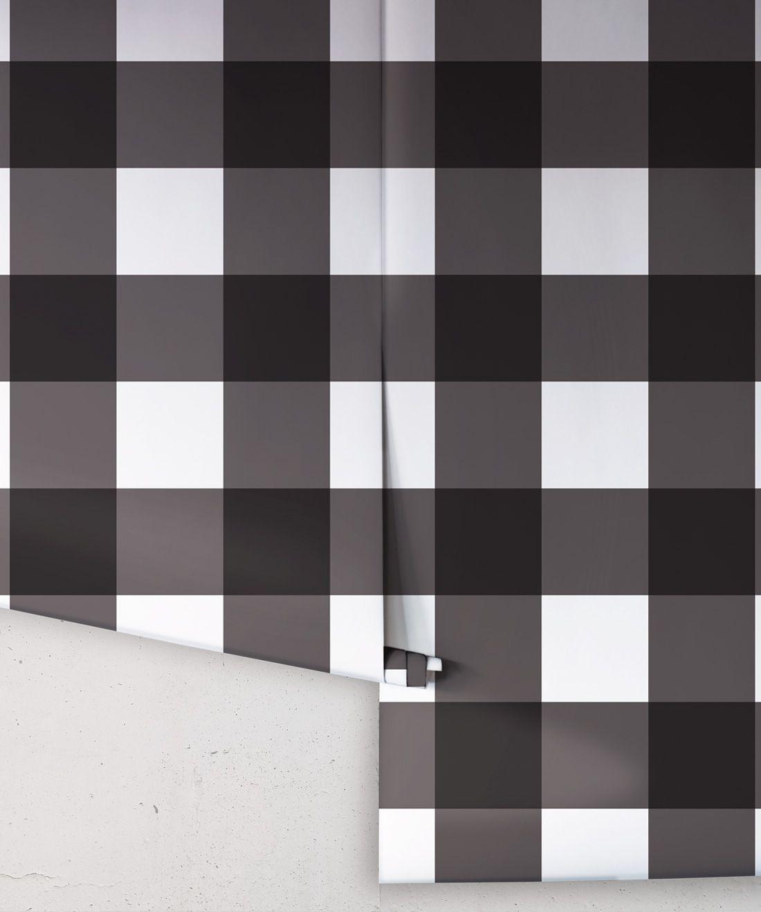 Mel's Buffalo Check Wallpaper • Black & White Plaid Wallpaper Rolls
