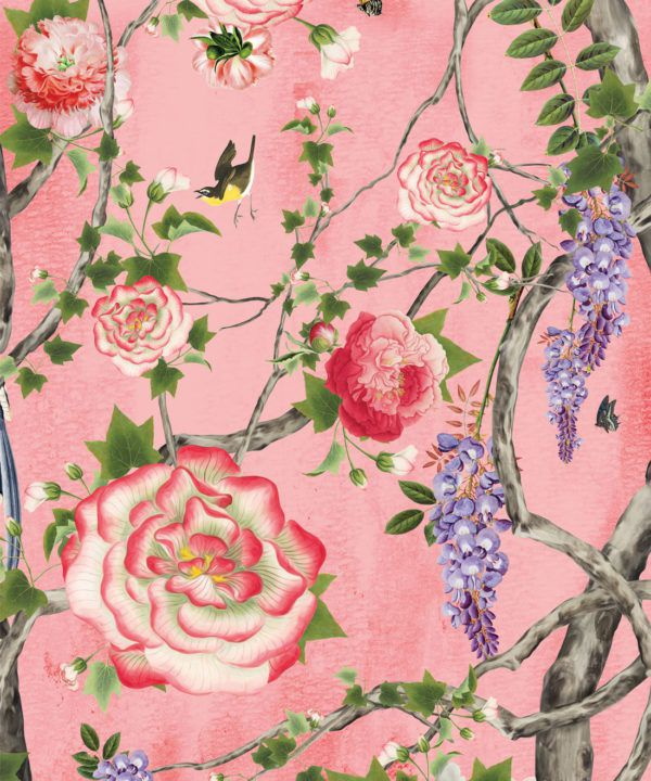 Empress Wallpaper • Romantic Wallpaper • Floral Wallpaper • Chinoiserie Wallpaper • Coral colour wallpaper swatch