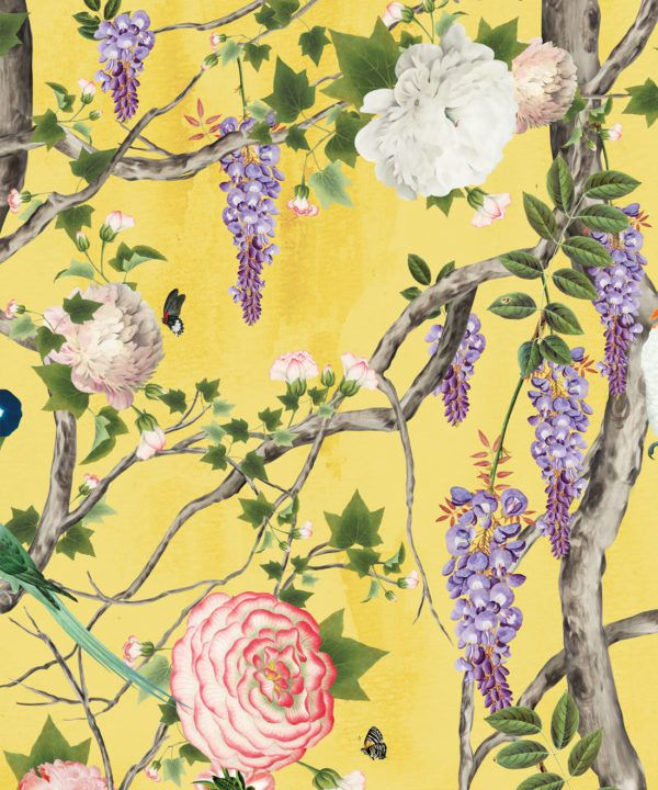 Empress Wallpaper • Romantic Wallpaper • Floral Wallpaper • Chinoiserie Wallpaper • Honey Yellow colour wallpaper swatch