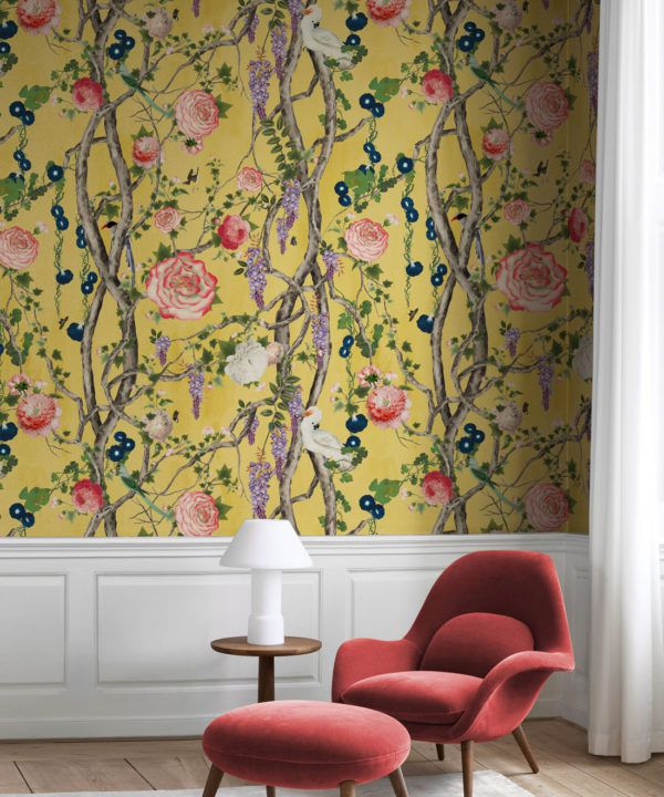 Empress Wallpaper • Romantic Wallpaper • Floral Wallpaper • Chinoiserie Wallpaper • Honey Yellow colour wallpaper insitu