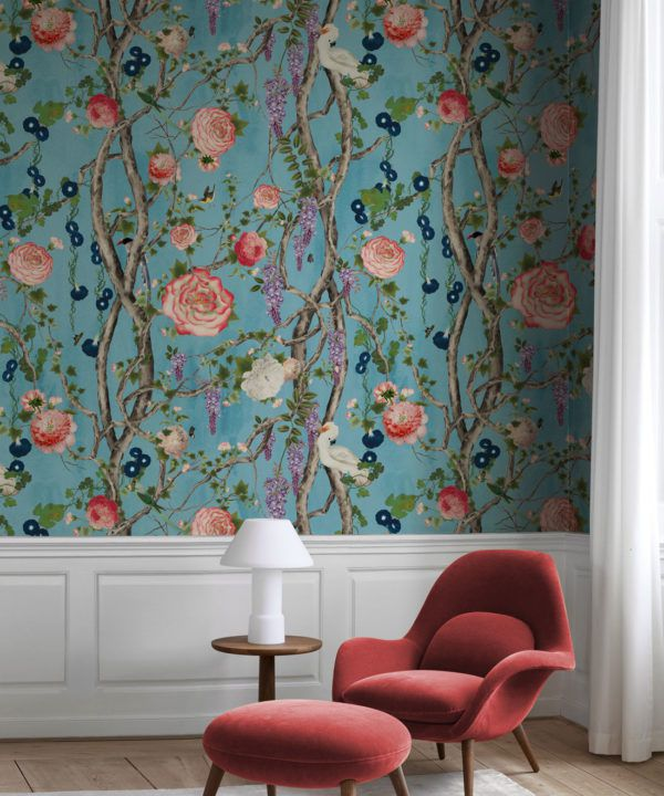 Empress Wallpaper • Romantic Wallpaper • Floral Wallpaper • Chinoiserie Wallpaper • Sky Blue colour wallpaper insitu