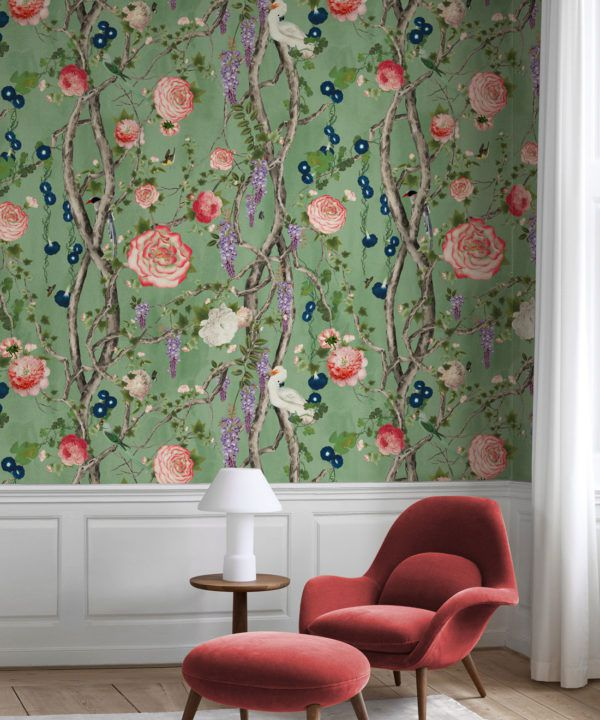 Empress Wallpaper • Romantic Wallpaper • Floral Wallpaper • Chinoiserie Wallpaper • Tea Garden Green colour wallpaper insitu