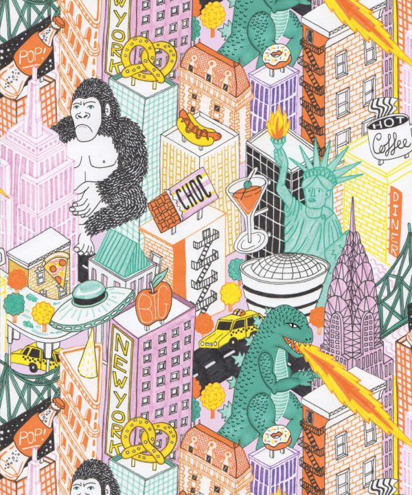 New York Wallpaper by Jacqueline Colley featuring Godzilla, King Kong, a UFO, buildings and the statue of liberty swatch