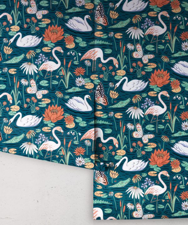 Pond Pattern Wallpaper featuring alligators, swans, flamingos and lily pads rolls