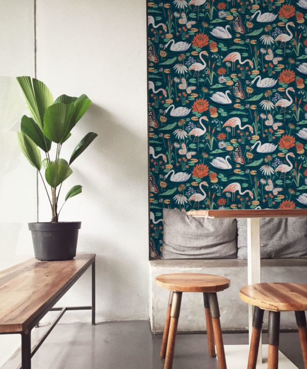 Pond Pattern Wallpaper featuring alligators, swans, flamingos and lily pads insitu