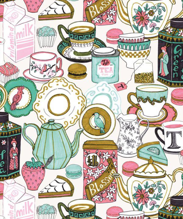Tea Time Wallpaper • tea cups, tea pots, macaroons • milk and cream swatch