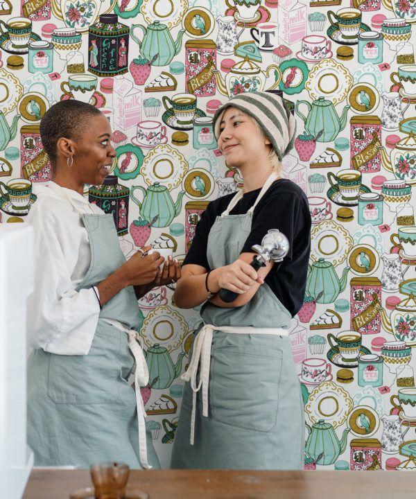 Tea Time Wallpaper • tea cups, tea pots, macaroons • milk and cream insitu