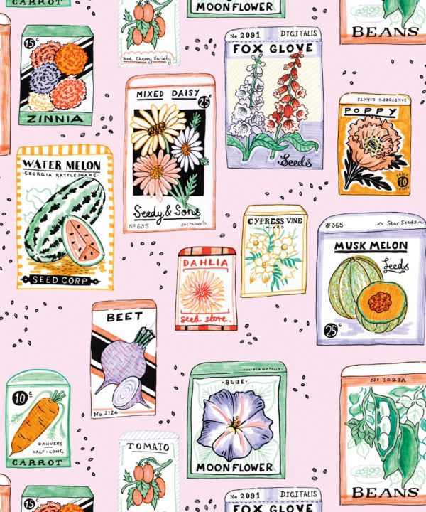 Seed Packets Wallpaper featuring watermelon, carrot, beet, beans, poppy, daisy swatch