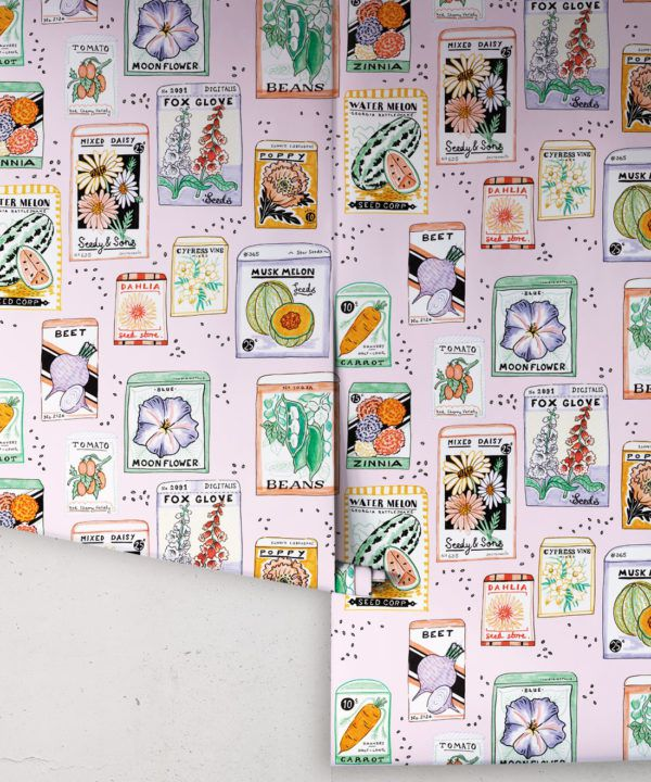 Seed Packets Wallpaper featuring watermelon, carrot, beet, beans, poppy, daisy rolls