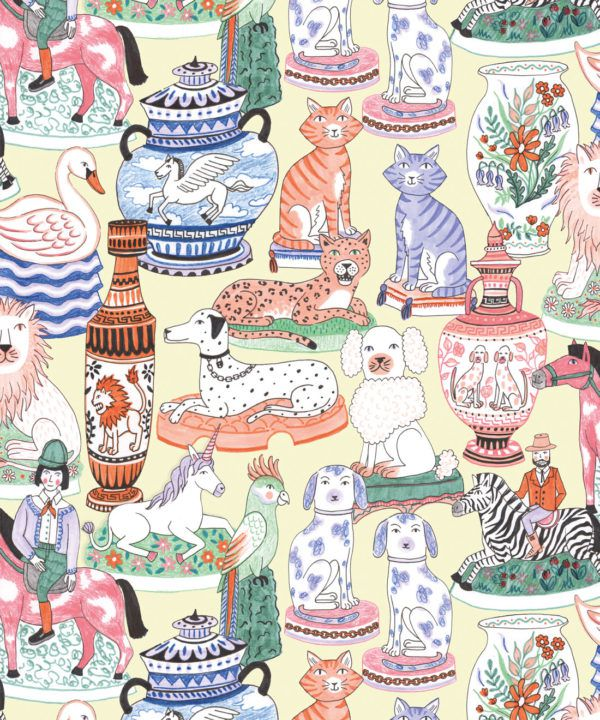 Ceramics Wallpaper featuring vases of dogs, cats, zebras, lions, parrots and unicorns swatch