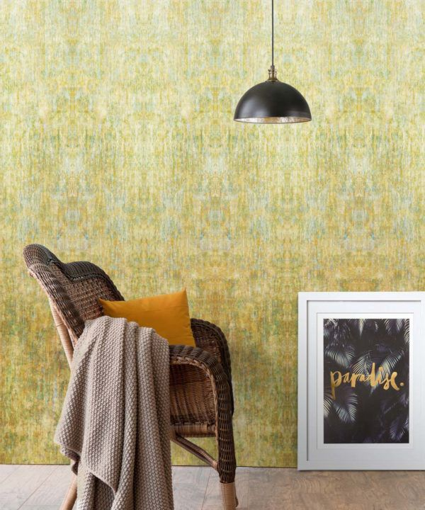 Patina Wallpaper by Simcox • Color Gold • Abstract Wallpaper • insitu