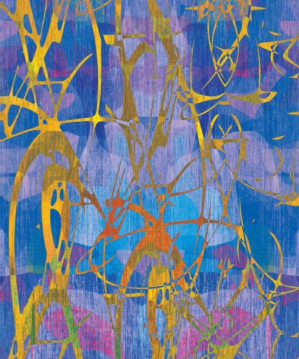 Camoufleur Wallpaper • Coral • Blue Purple Wallpaper • Abstract Wallpaper swatch
