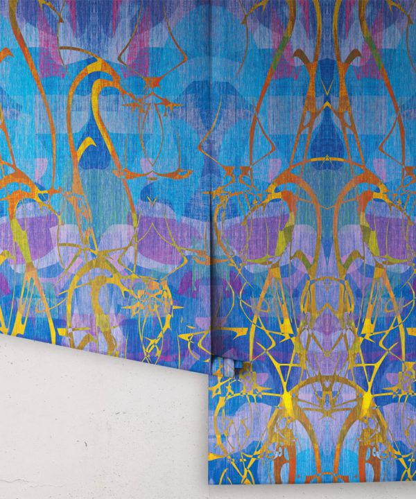Camoufleur Wallpaper • Coral • Blue Purple Wallpaper • Abstract Wallpaper rolls