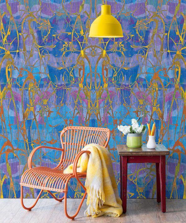 Camoufleur Wallpaper • Coral • Blue Purple Wallpaper • Abstract Wallpaper insitu