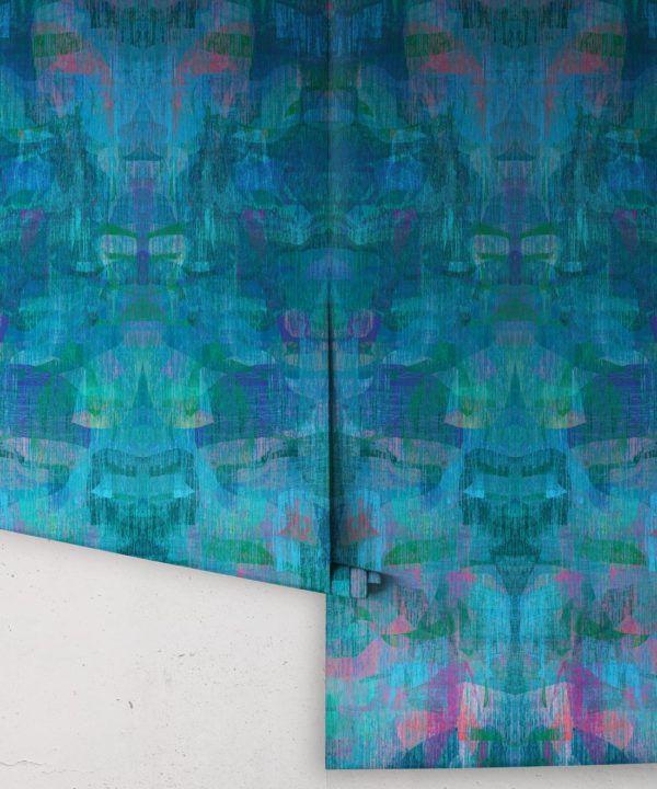 Camoufleur Wallpaper • Midnight • Blue Purple Wallpaper • Abstract Wallpaper rolls