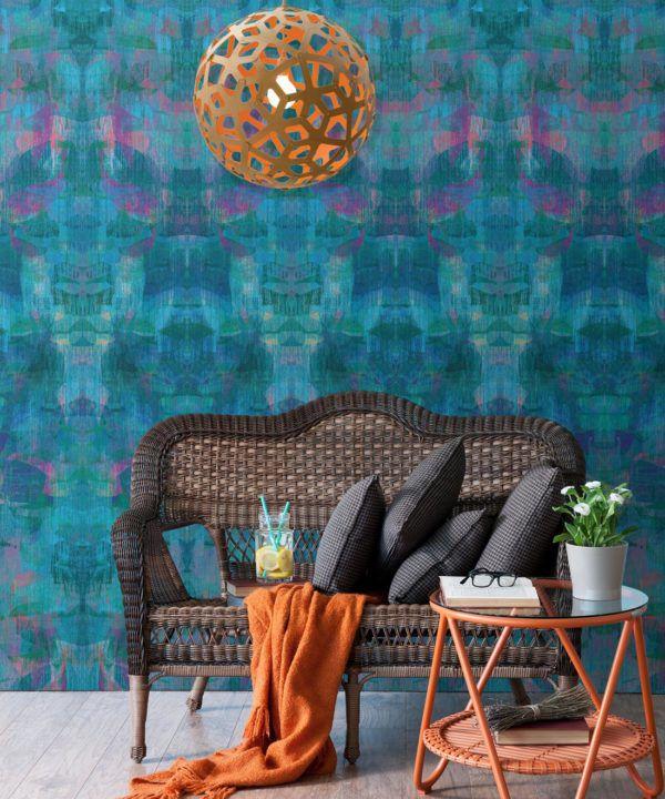 Camoufleur Wallpaper • Midnight • Blue Purple Wallpaper • Abstract Wallpaper insitu