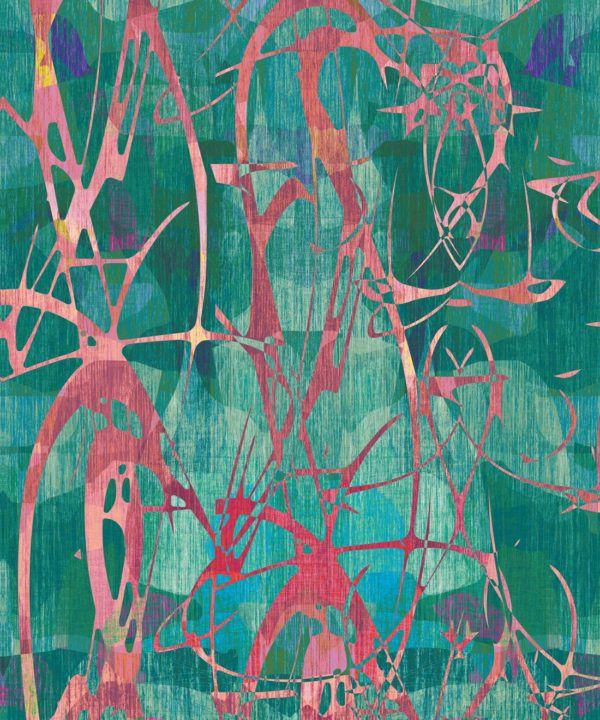 Camoufleur Wallpaper • Rainforest • Teal Wallpaper • Abstract Wallpaper swatch