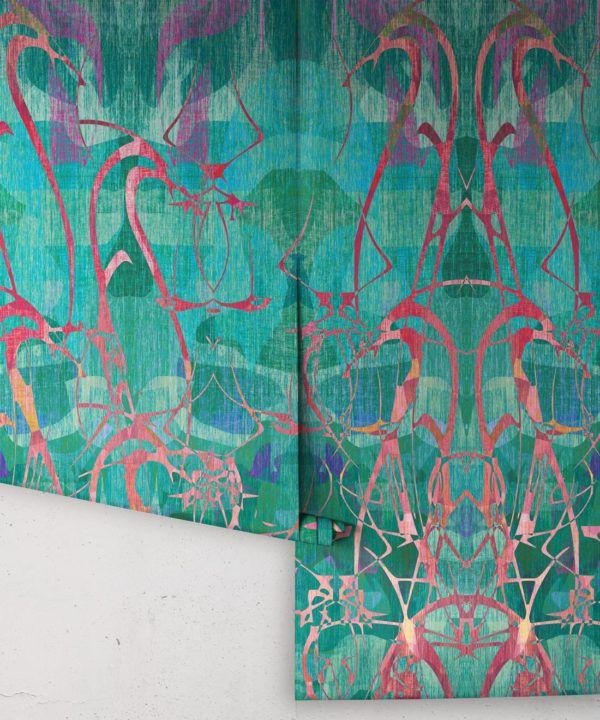 Camoufleur Wallpaper • Rainforest • Teal Wallpaper • Abstract Wallpaper rolls