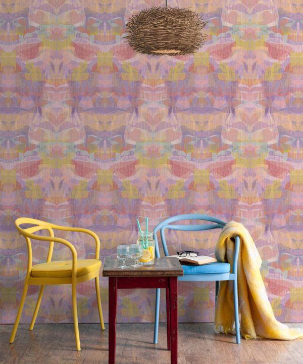 Camoufleur Wallpaper • Tangerine • Orange Wallpaper • Abstract Wallpaper rolls