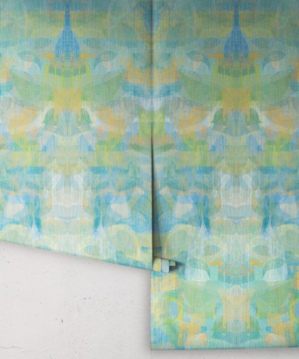 Camoufleur Wallpaper • Turquoise • Blue Yellow Wallpaper • Abstract Wallpaper swatch