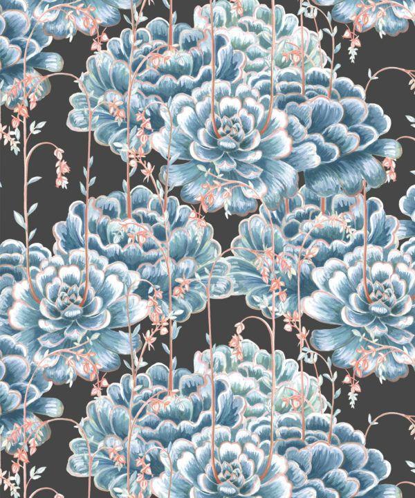 Succulents Wallpaper Blue Charcoal • Cactus Wallpaper • Desert Wallpaper Swatch on black background