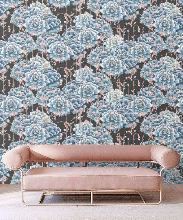 Succulents Wallpaper Blue Charcoal • Cactus Wallpaper • Desert Wallpaper Insitu on black background behind a sofa with pink cushions