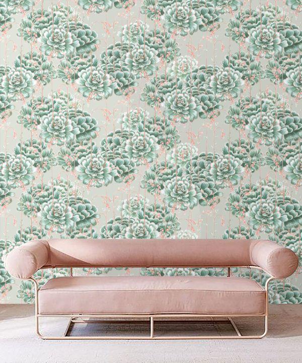 Succulents Wallpaper Green Beige • Cactus Wallpaper • Desert Wallpaper insitu on grey background behind sofa with pink cushions