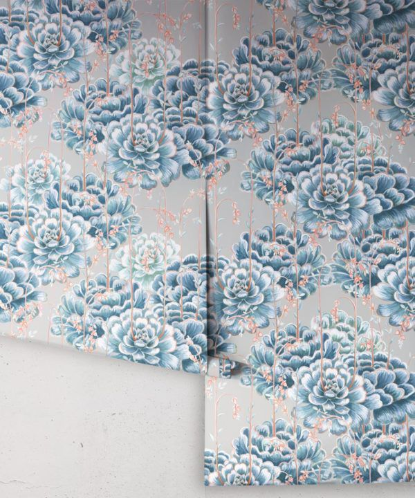Succulents Wallpaper Steel Blue • Cactus Wallpaper • Desert Wallpaper rolls on grey background
