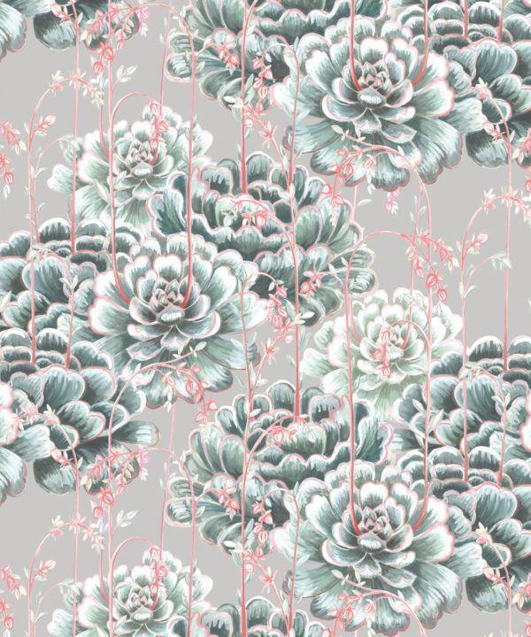 Succulents Wallpaper Sage • Cactus Wallpaper • Desert Wallpaper Swatch on grey background
