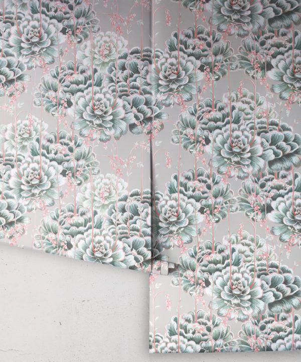 Succulents Wallpaper Sage • Cactus Wallpaper • Desert Wallpaper rolls on grey background