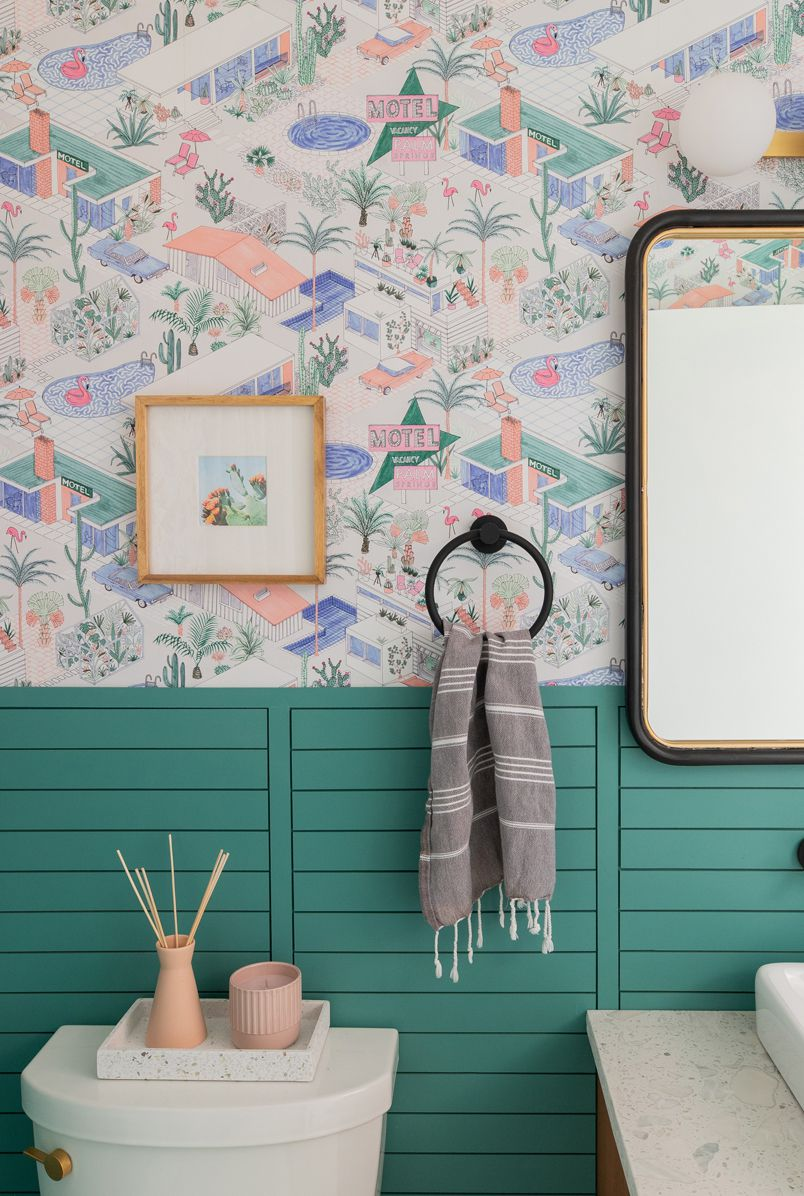 Palm Springs Wallpaper • Retro Bathroom • Rebecca Plumb • Studio Plumb • Single Roll • Double Roll • Two Roll Set