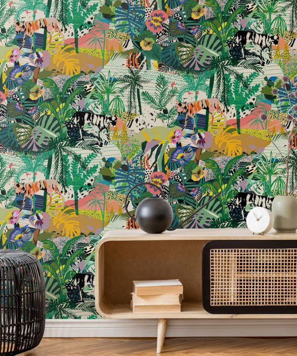 Utopia wallpaper • Colourful Tropical Wallpaper • Insitu