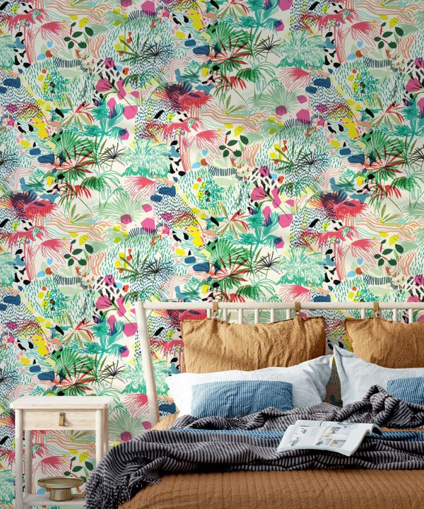 Encinitas Wallpaper • Colourful Floral Wallpaper • Insitu