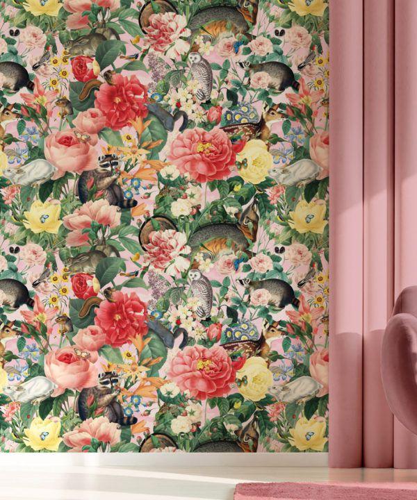 Bush Bouquet Spring Wallpaper • Coral Colored Wallpaper • Assorted Color and Multi-color wallpaper • Floral Wallpaper • Wallpaper With Forest Animals • Insitu