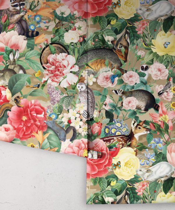 Bush Bouquet Spring Wallpaper • Brown Oak Colored Wallpaper • Assorted Color and Multi-color wallpaper • Floral Wallpaper • Wallpaper With Forest Animals • Rolls