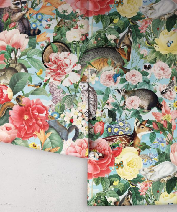 Bush Bouquet Spring Wallpaper • Blue Sky Colored Wallpaper • Assorted Color and Multi-color wallpaper • Floral Wallpaper • Wallpaper With Forest Animals • Rolls