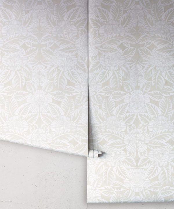 Calcutta Wallpaper • Flower and Leaf Motif Design • Ethnic Wallpaper • Beige Wallpaper • Rolls