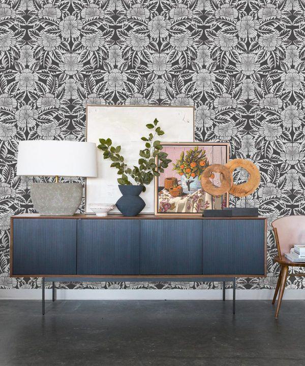 Calcutta Wallpaper • Flower and Leaf Motif Design • Ethnic Wallpaper • Charcoal Wallpaper • Insitu
