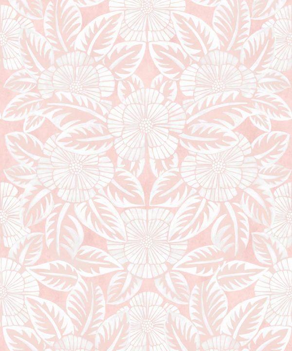Calcutta Wallpaper • Flower and Leaf Motif Design • Ethnic Wallpaper • Pink Wallpaper • Swatch