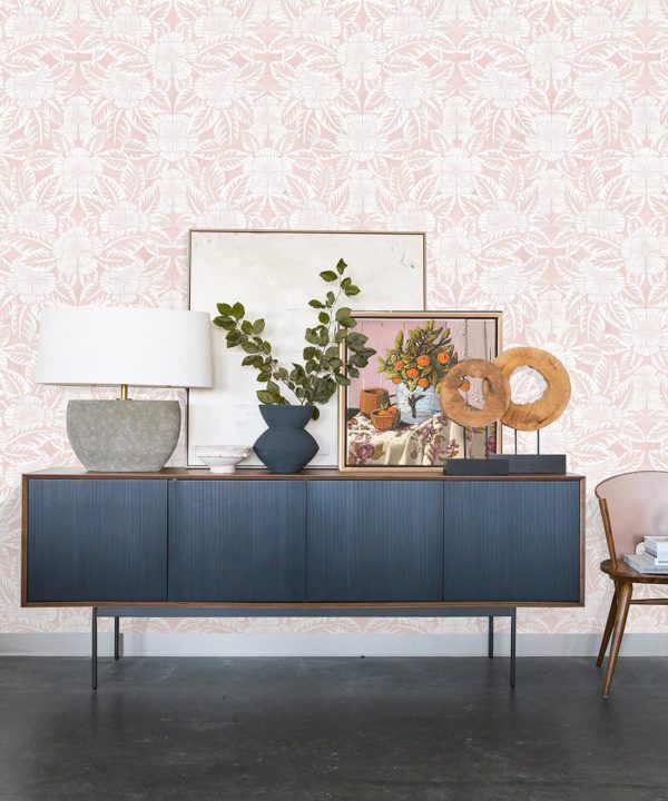 Calcutta Wallpaper • Flower and Leaf Motif Design • Ethnic Wallpaper • Pink Wallpaper • Insitu