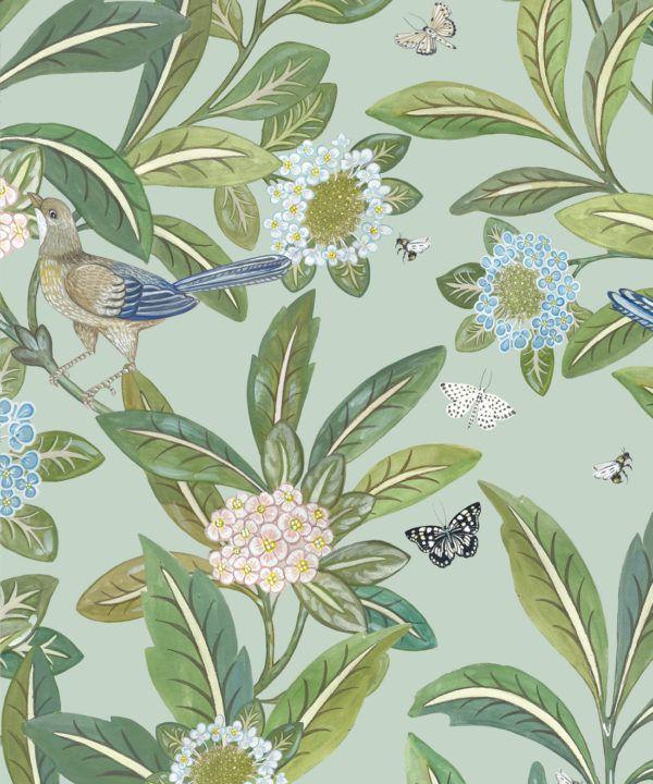 Summer Garden Wallpaper • Aqua Wallpaper • Floral Wallpaper Swatch