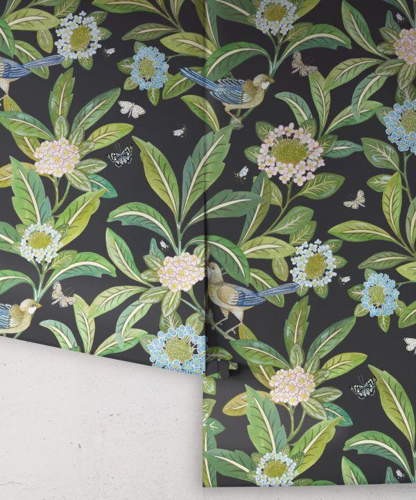 Summer Garden Wallpaper • Charcoal Wallpaper • Floral Wallpaper Rolls