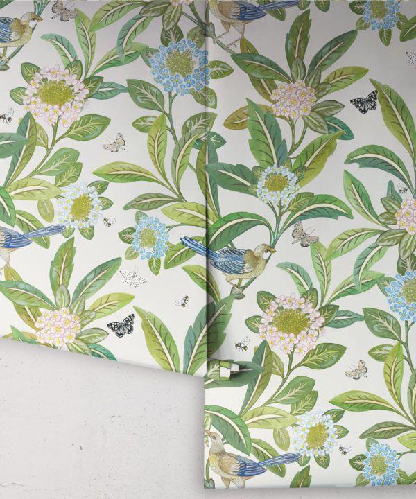 Summer Garden Wallpaper • Floral Wallpaper • ivory Wallpaper •Rolls