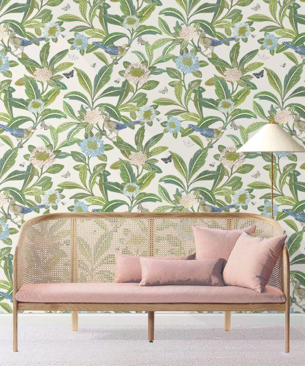 Summer Garden Wallpaper • Floral Wallpaper • ivory Wallpaper •Insitu