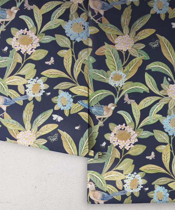 Summer Garden Wallpaper • Navy Wallpaper • Floral Wallpaper rolls
